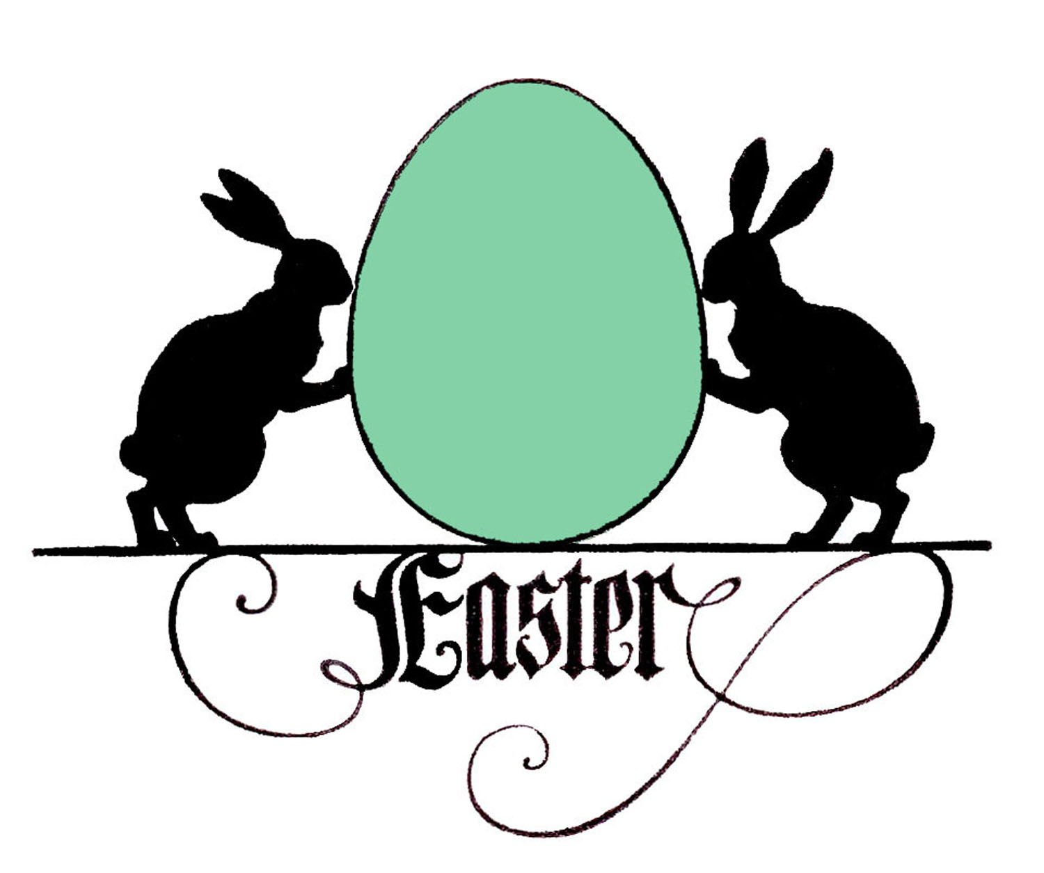 Easter bunny silhouette. Rabbit silhouettes and