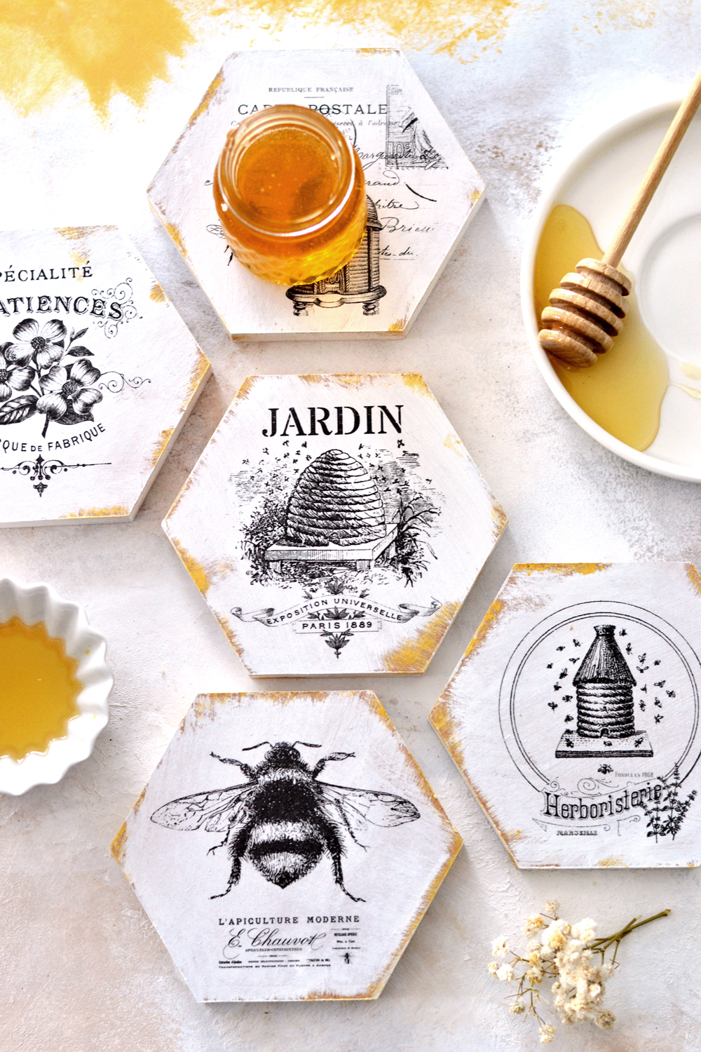 DIY French Honeycomb Coasters