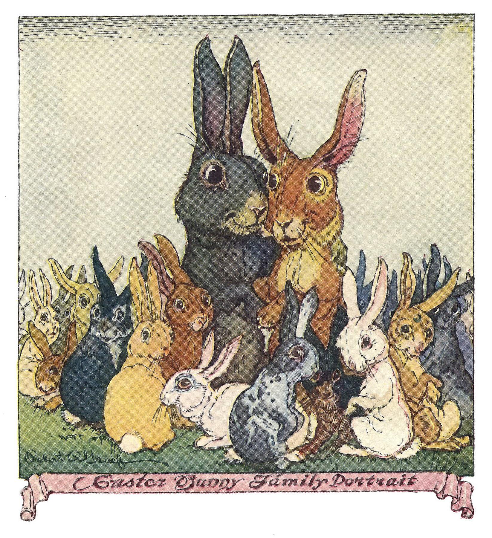 Открытка с зайцем и кроликом
