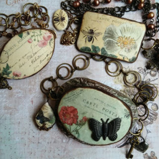 Vintage Postcard Mixed Media Bracelets