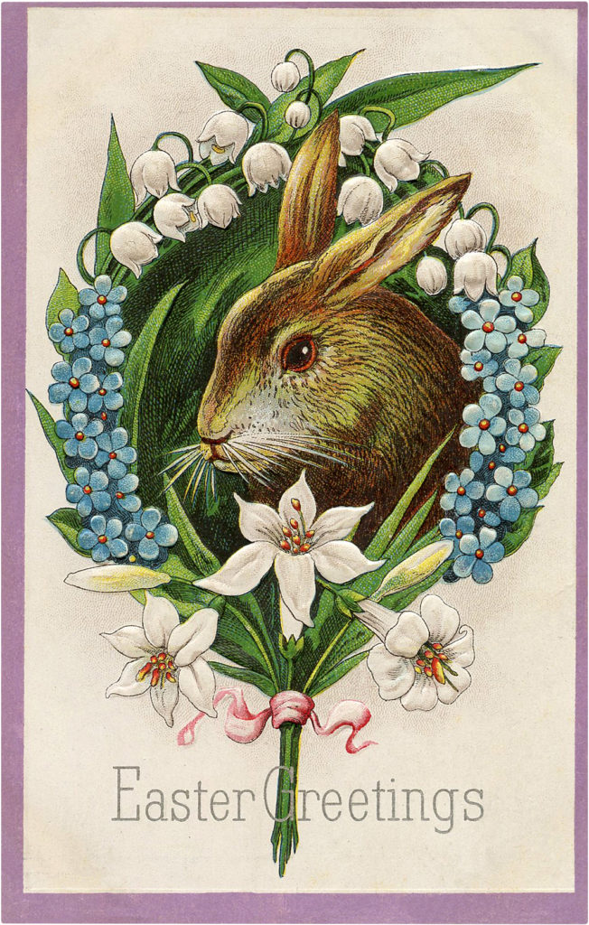 Easter Bunny with Flowers Image
