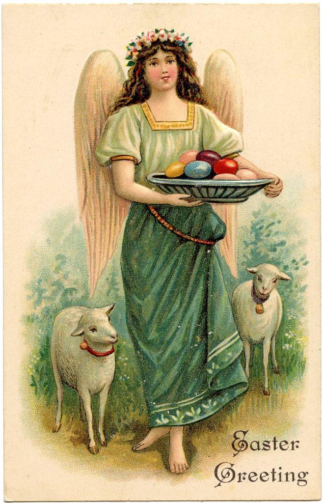 Easter Angel Lambs Image