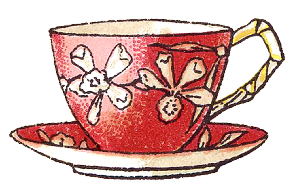Red Teacup White Flowers