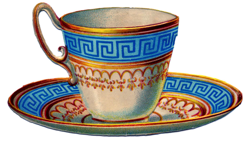 Tea CUp Greek Key Blue