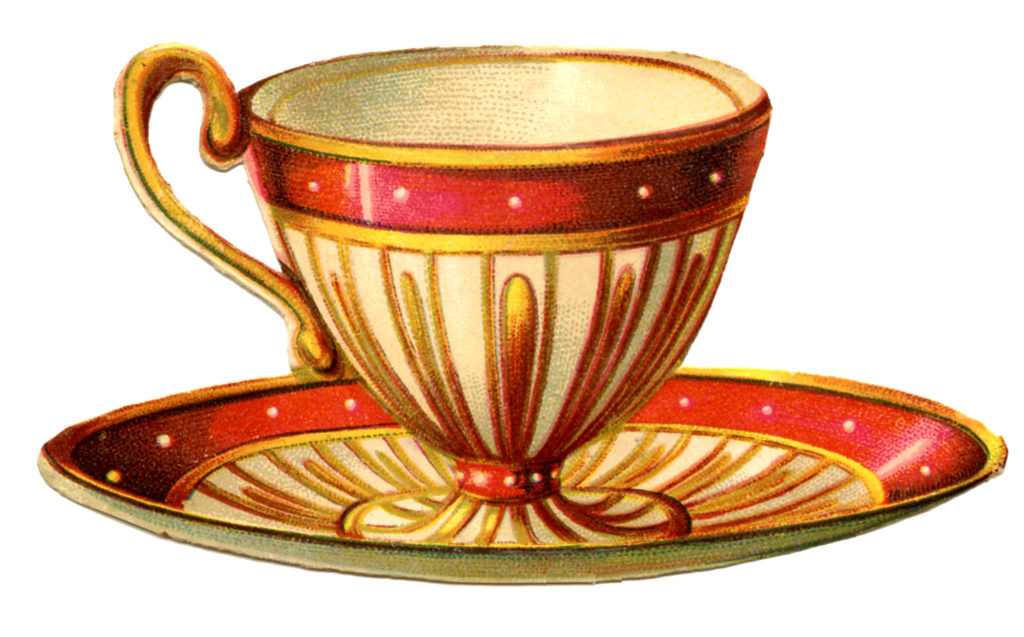 Teacup Victorian Red Vintage Image