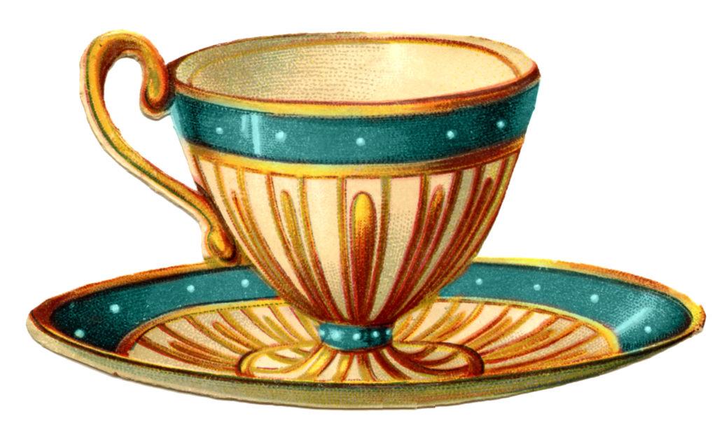 Teacup Victorian Teal Vintage Image
