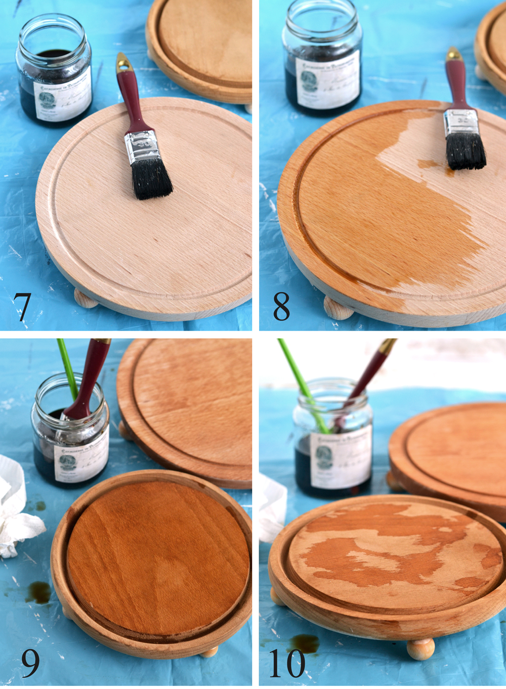 DIY Coffee Stained French Tray Risers