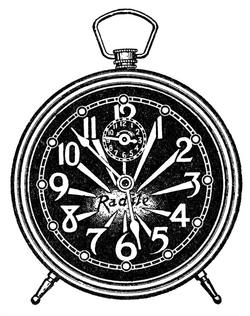 Black Alarm Clock Clipart