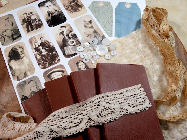 Ephemera Fabric Wrap Collage Journal