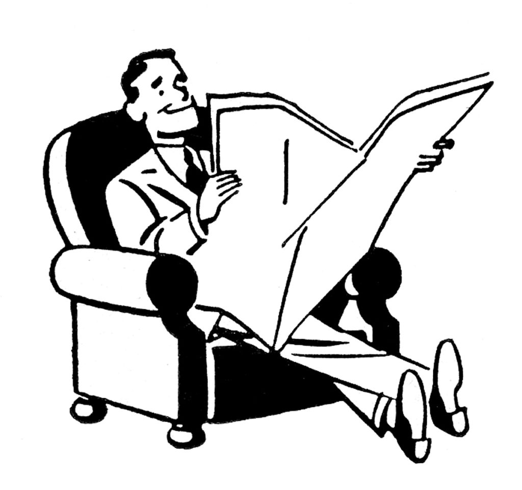 Man relaxing in a Chair with a Newspaper