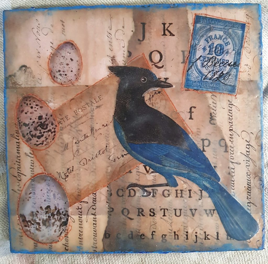 Encaustic Collage on Wood