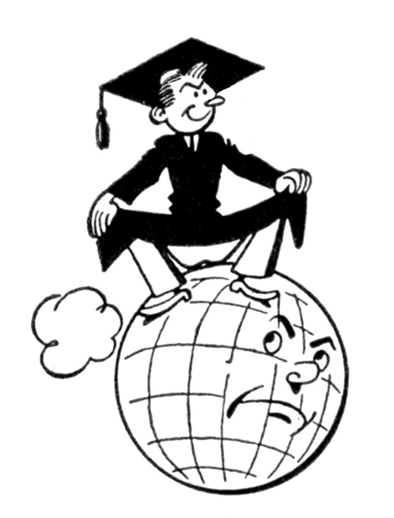 Fun Vintage Graduation Picture Boy on Globe
