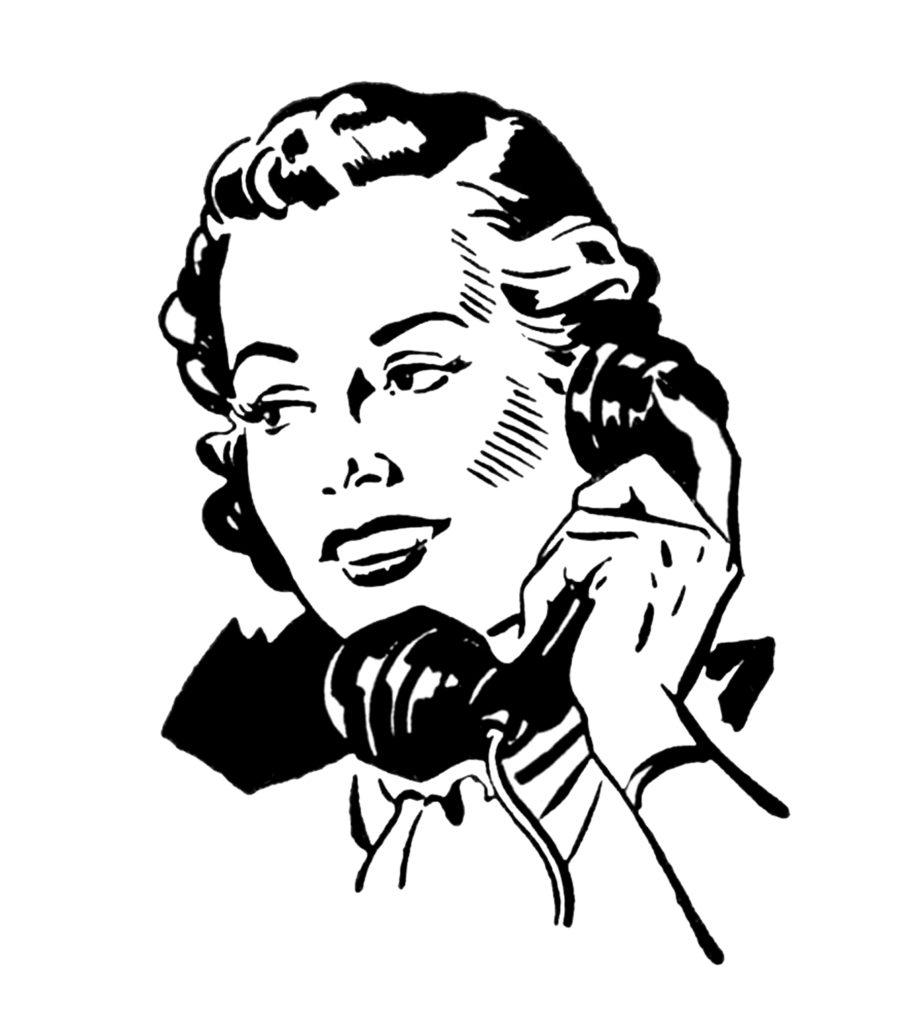 Lady on Phone Retro Image