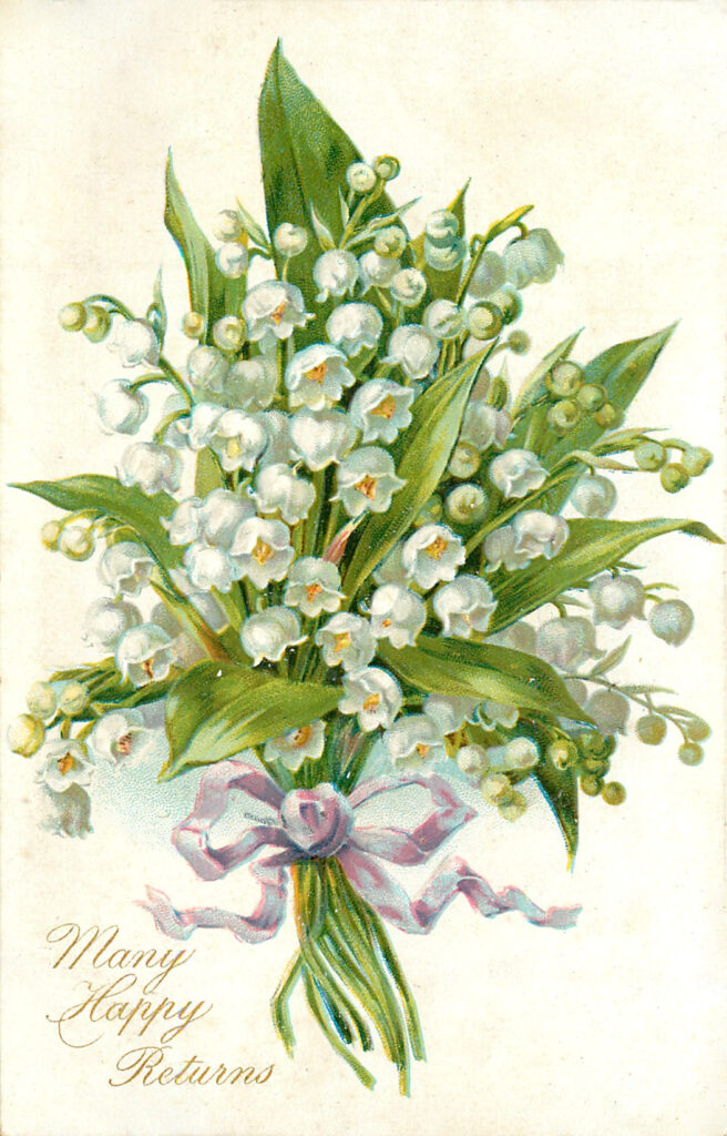 Lily of the Valley Bouquet with Lavender Ribbon