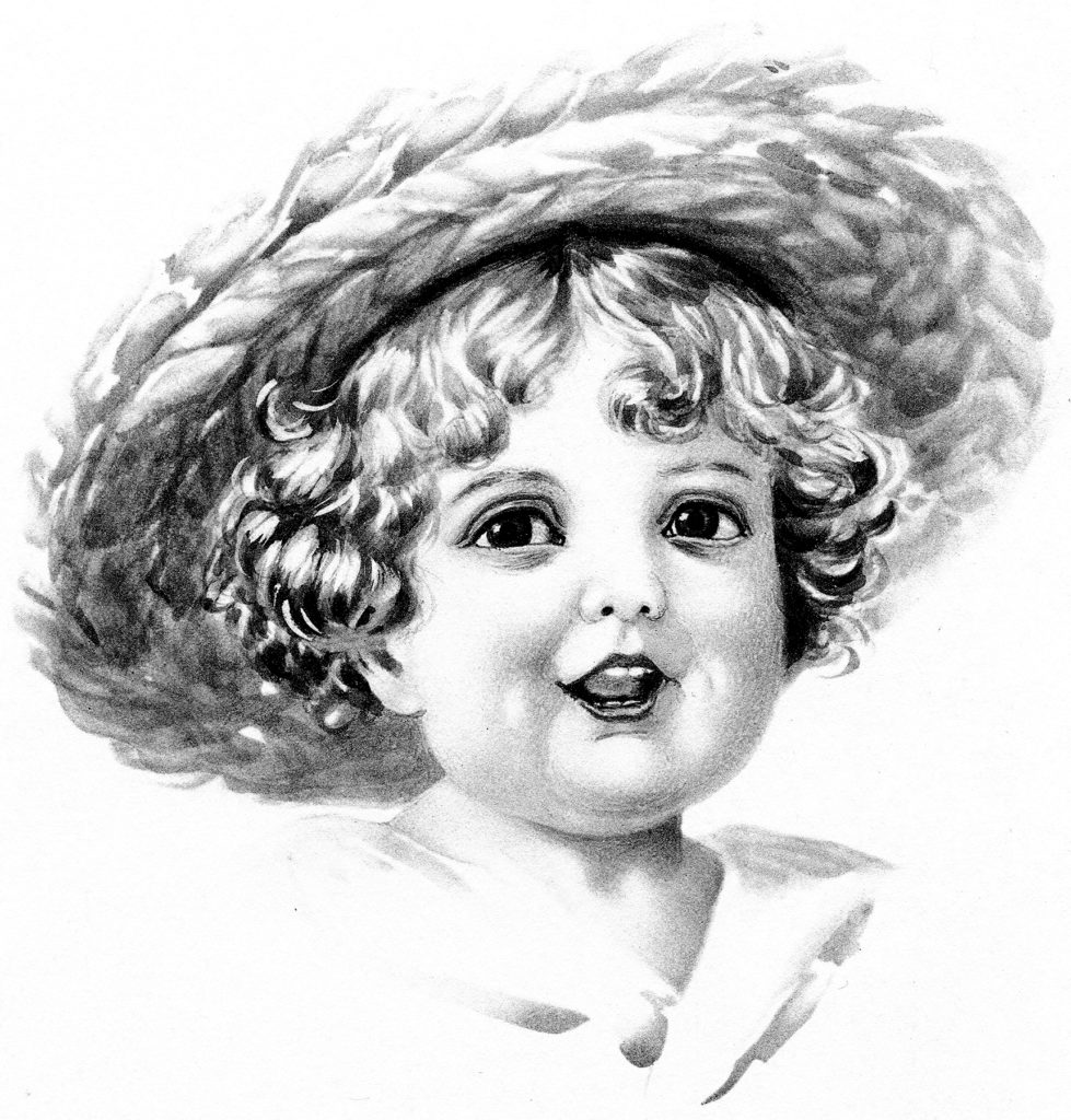 Vintage Child with Straw Hat Image