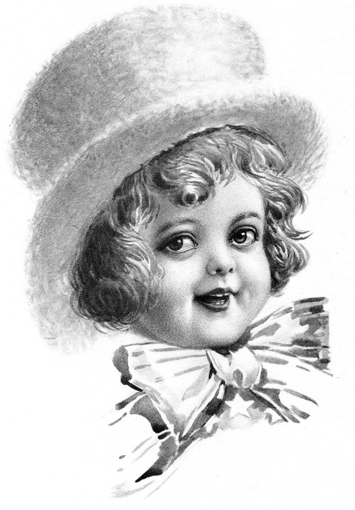 Vintage Child with Top Hat Sketch