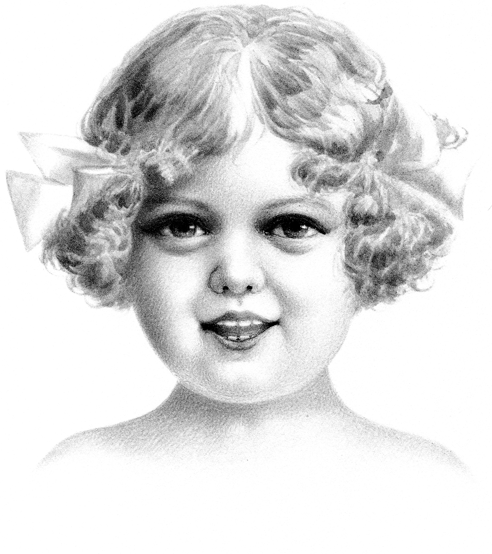How cute is this vintage pencil portrait of sweet girl this pencil sketch of a cute little girl with a big smile and bright eyes is just adorable