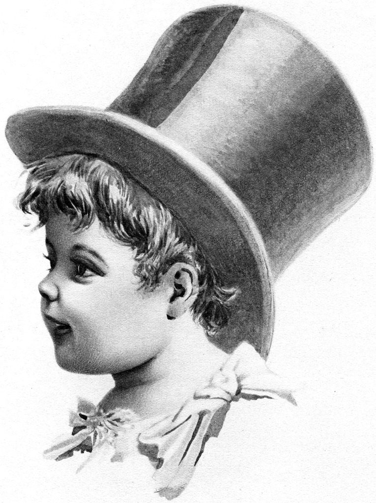 Vintage Boy with Top Hat Pencil Drawing