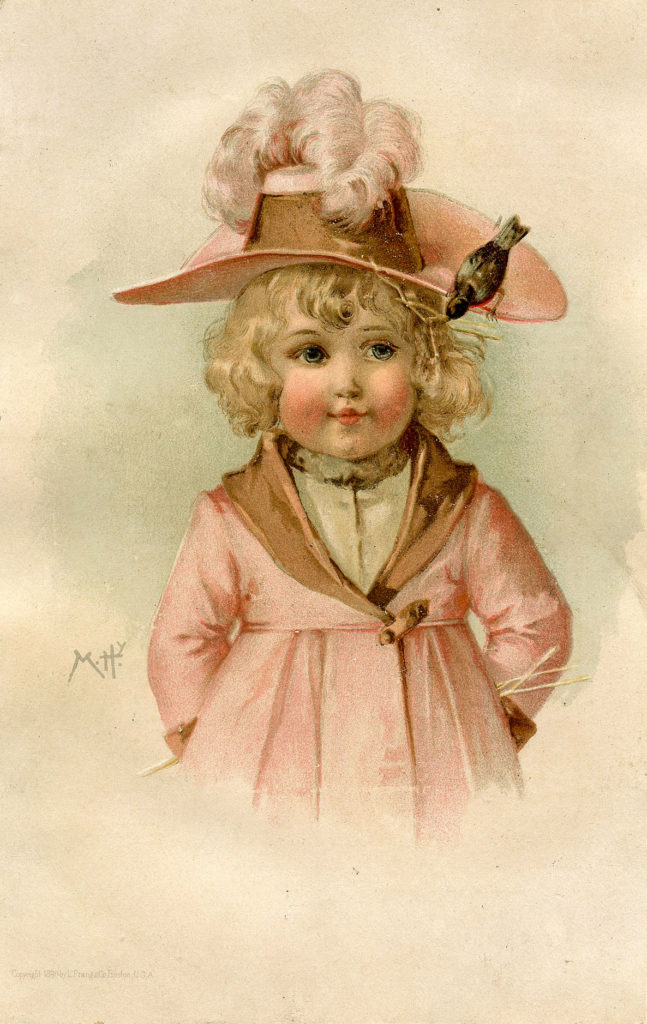 Pink Girl with Bird on Hat Image