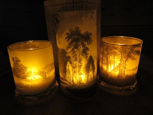 Candles Burning in Dark