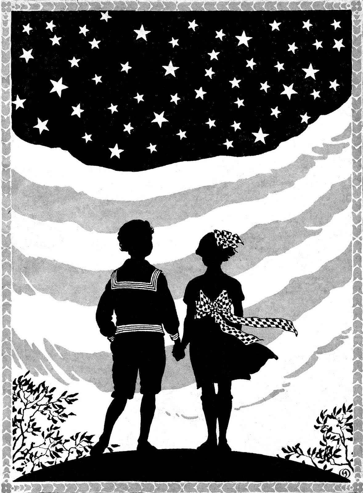 Patriotic Silhouette Flag in Background Children Hold Hands