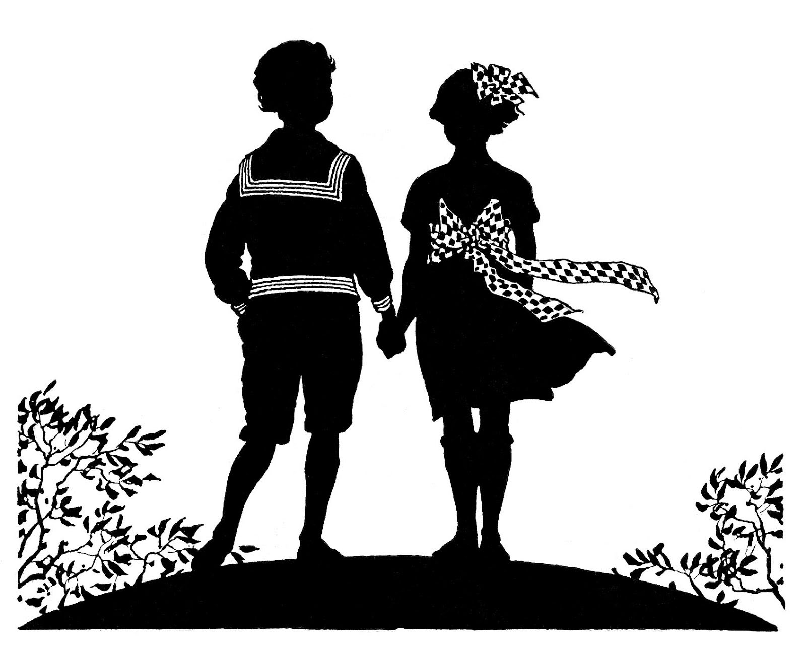 Patriotic Silhouette Boy and Girl Holding Hands