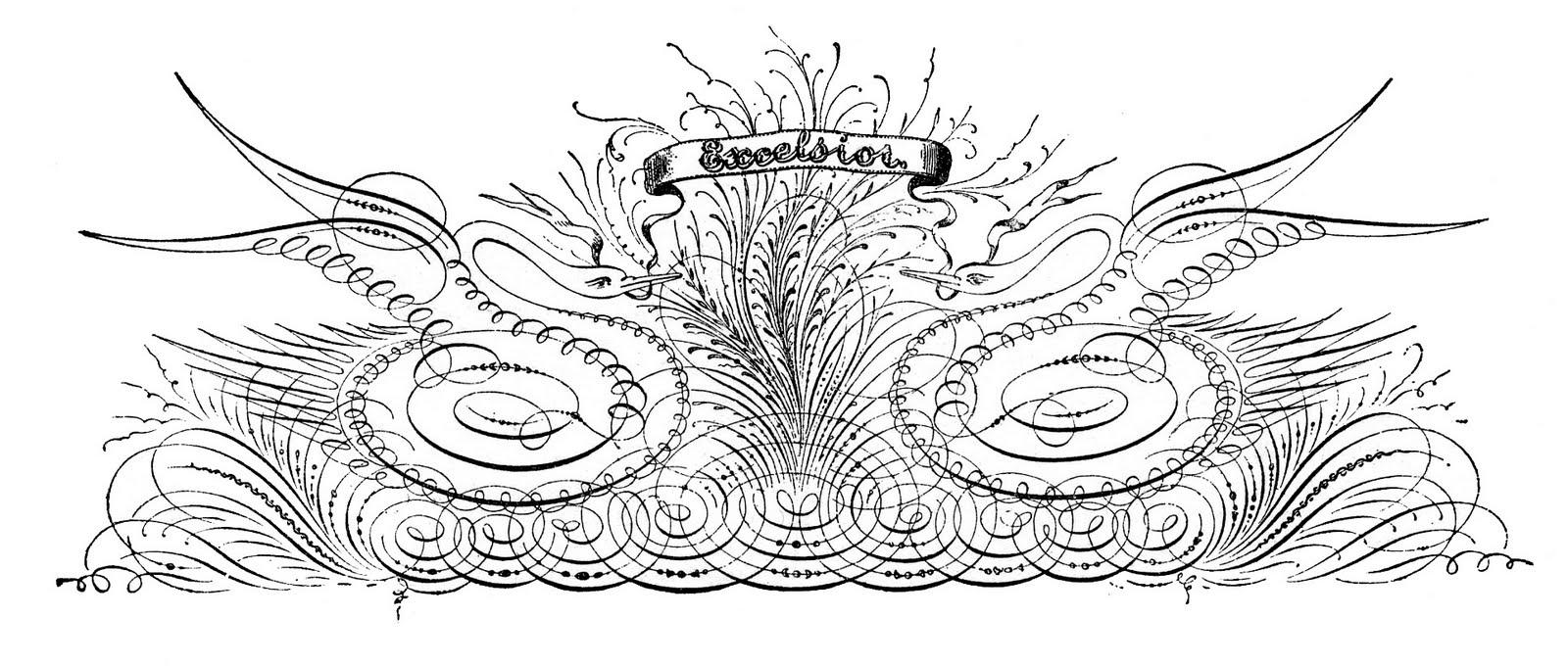 Pen-Flourish-Swans-GraphicsFairy