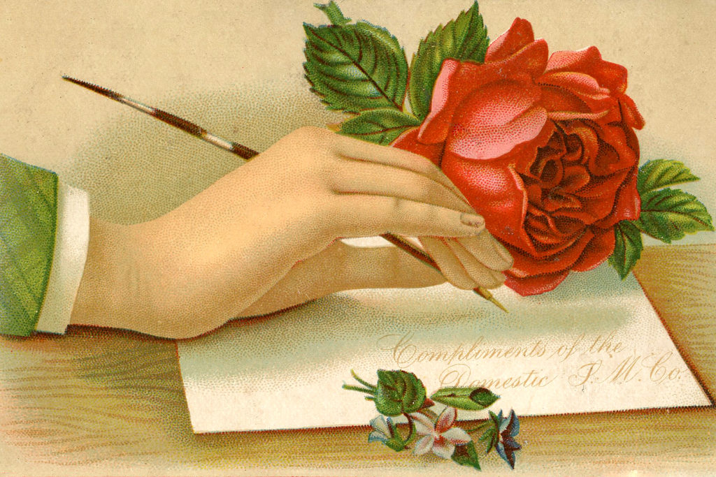Ladies Victorian Hand with Red Rose