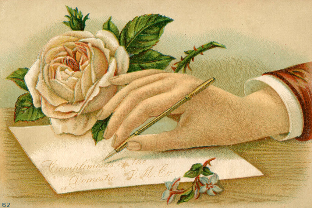 Victorian Hand Writing Letter with Rose