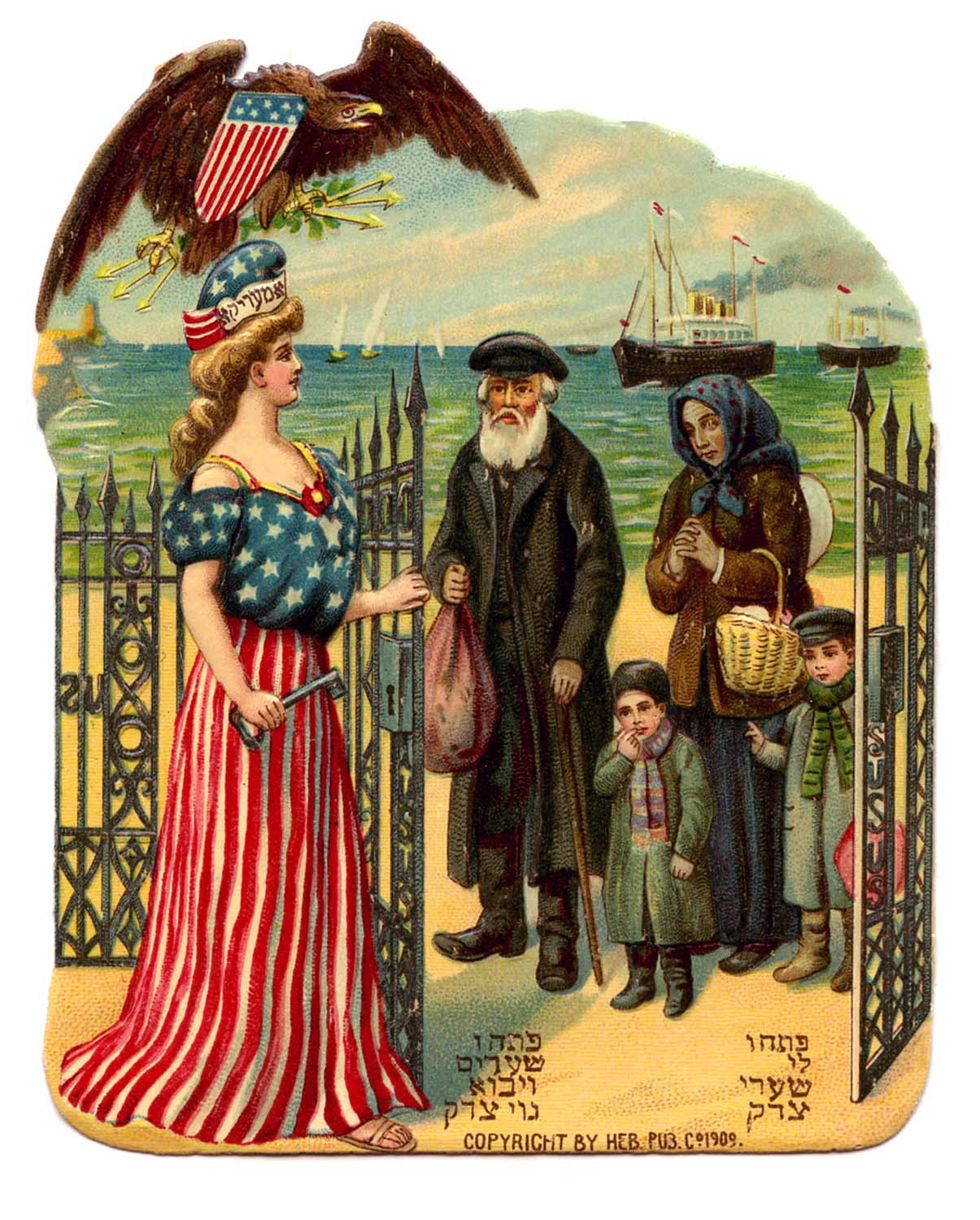 Lady Liberty welcoming Jewish Family