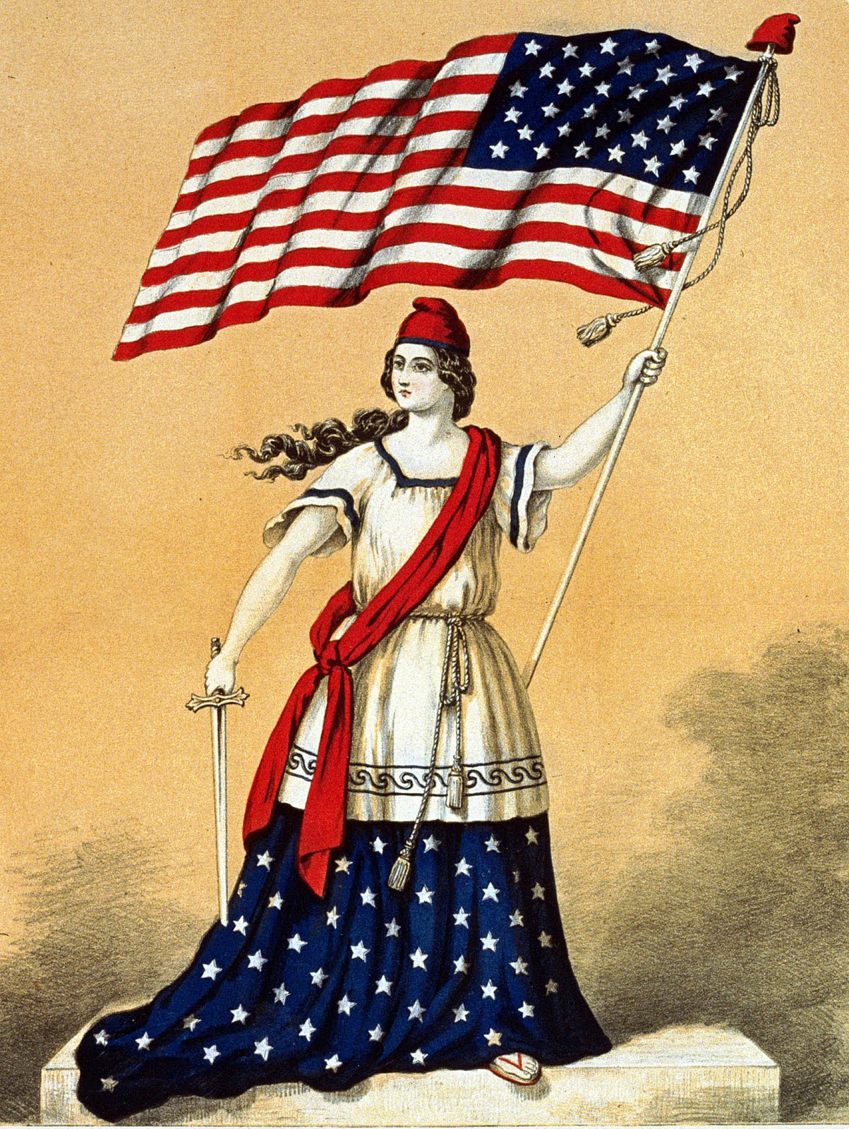 American Flag Lady Patriotic