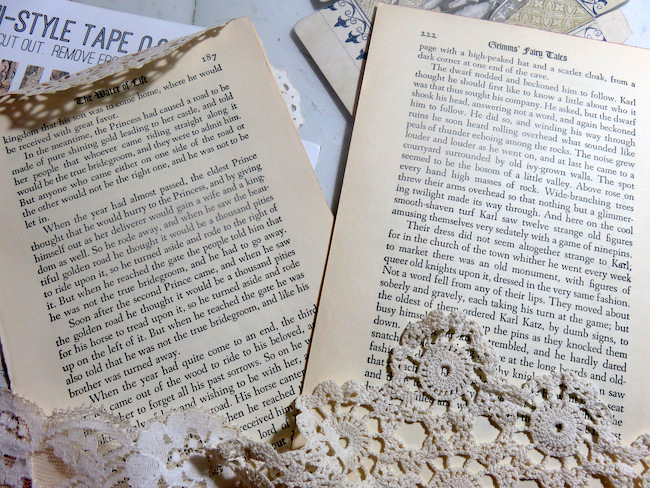 Book Pages and Lace