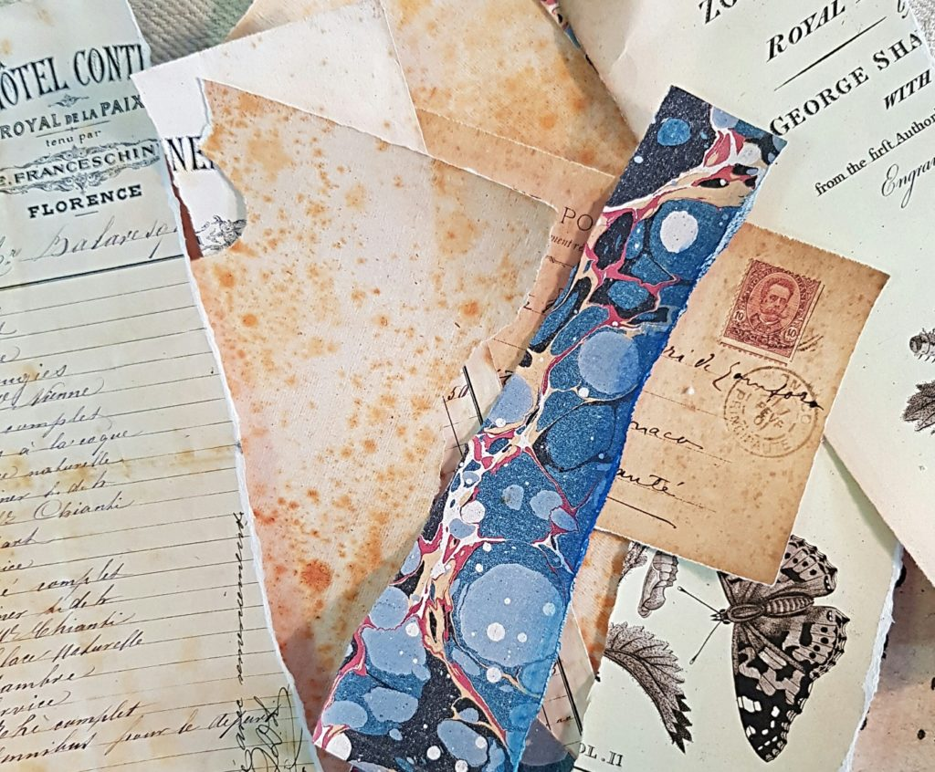 Ephemera Used for the Altered Mixed Media Clipboard Project