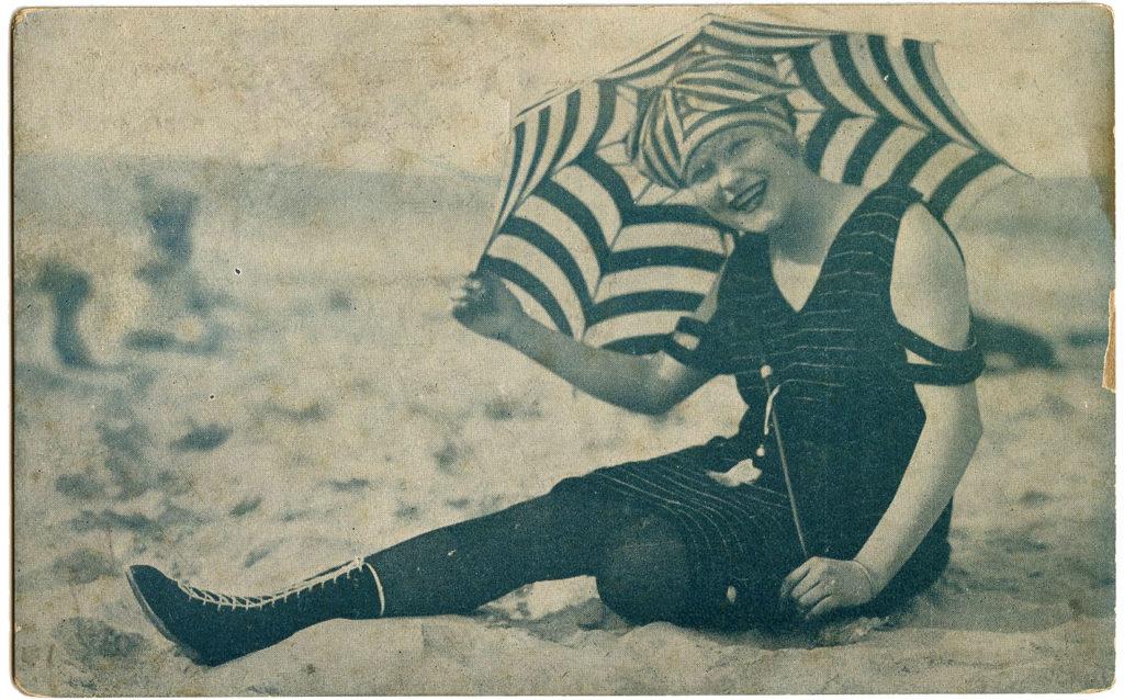 Vintage Swimsuit Ladies Parasol