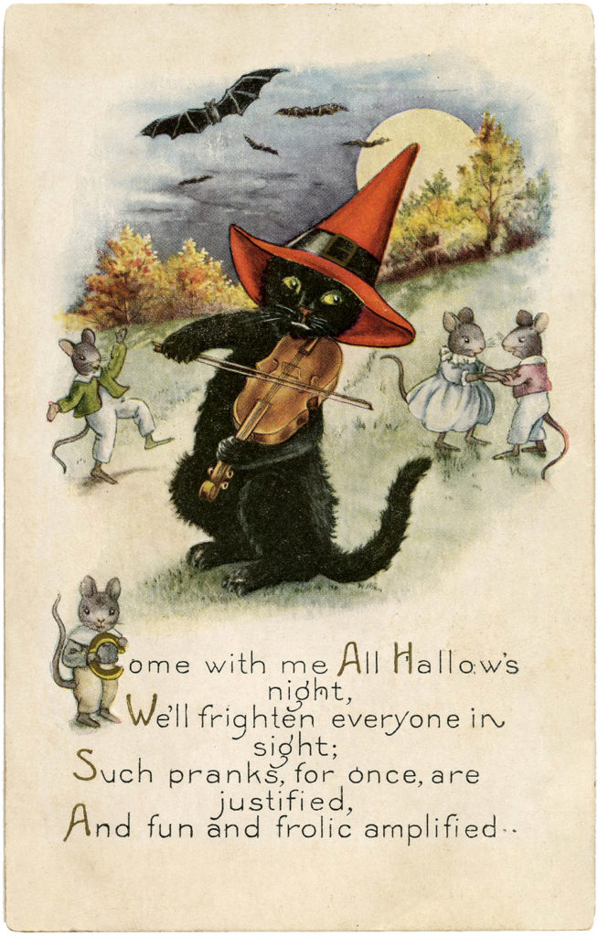 black cat fiddle violin witch hat