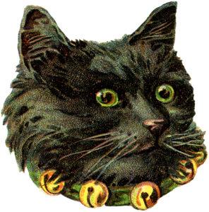 antique black cat bells