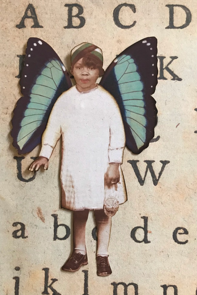 Butterfly Wings on Girl with Purse