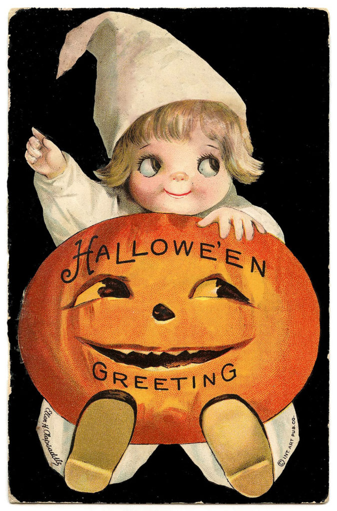 vintage image Halloween child with pumpkin
