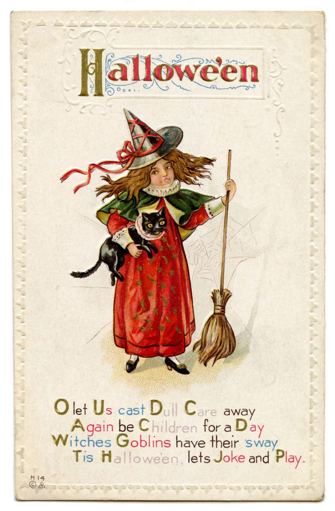 Halloween Witch Girl with Broom and Cat