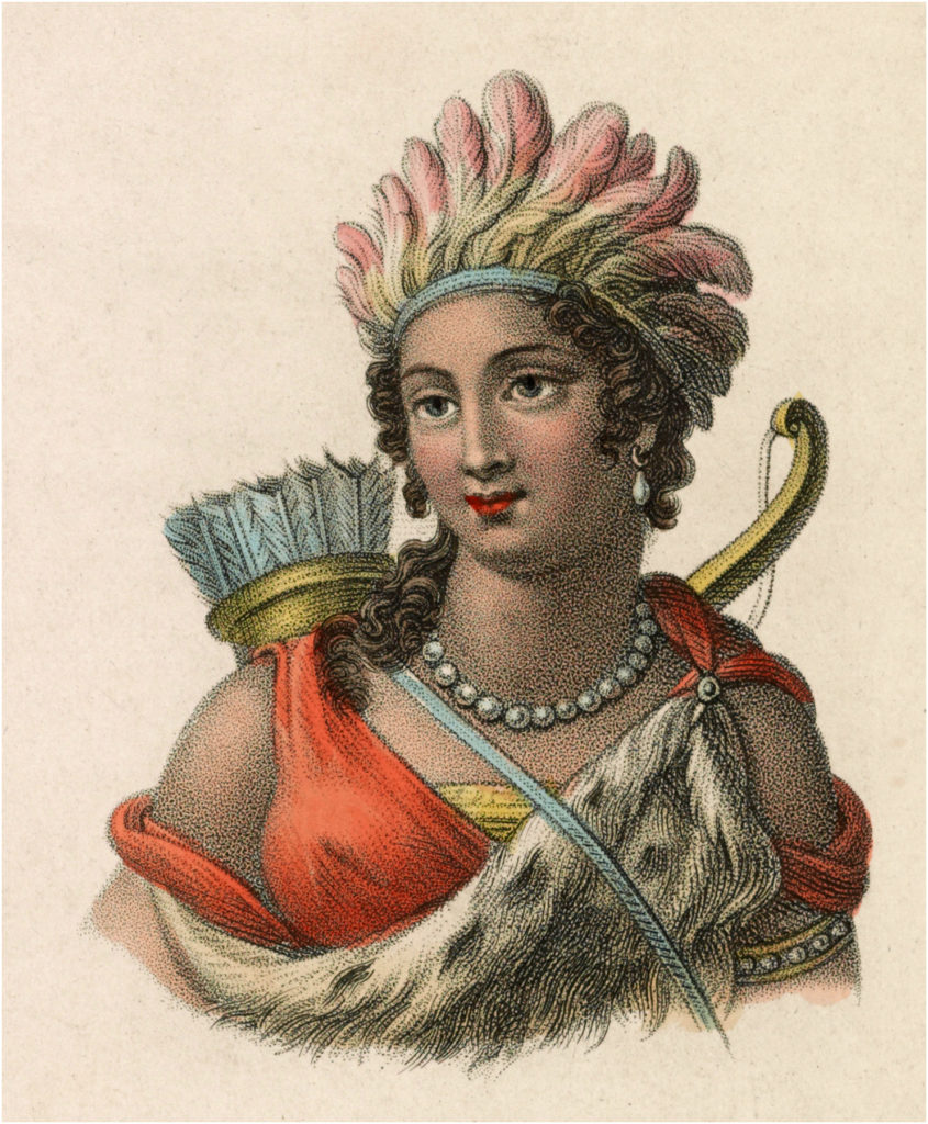 Vintage Native American Woman in Feather Headdress Image