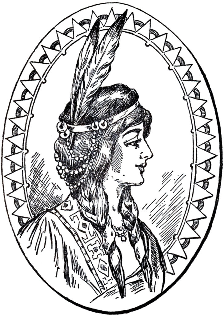 Vintage Native American Woman with Feathers Clip Art Image