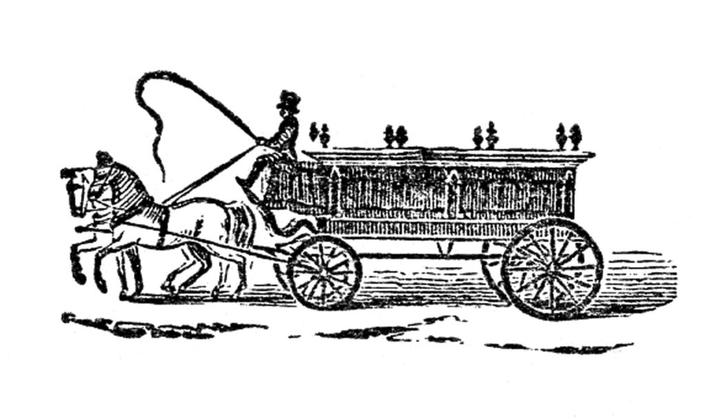 antique hearse undertaker illustration