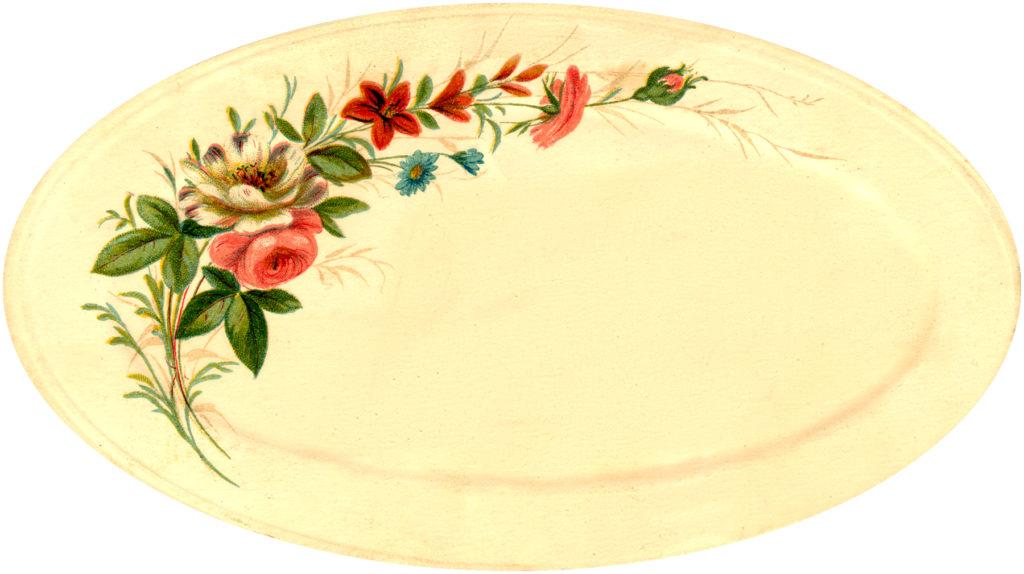vintage floral platter rose image