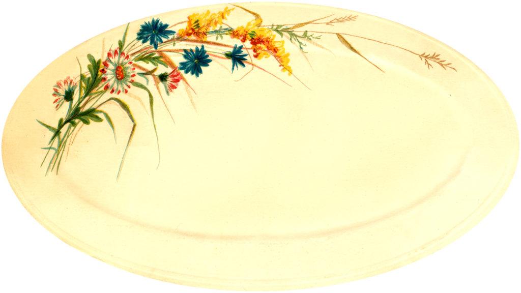 vintage fall flowers platter illustration