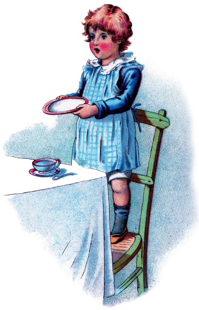 child hungry plate illustration