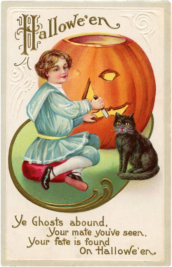 girl carving pumpkin cat image