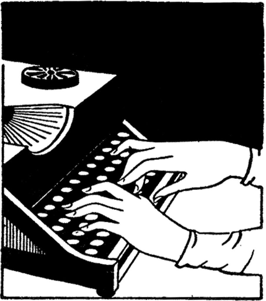 vintage typist typing typewriter clip art