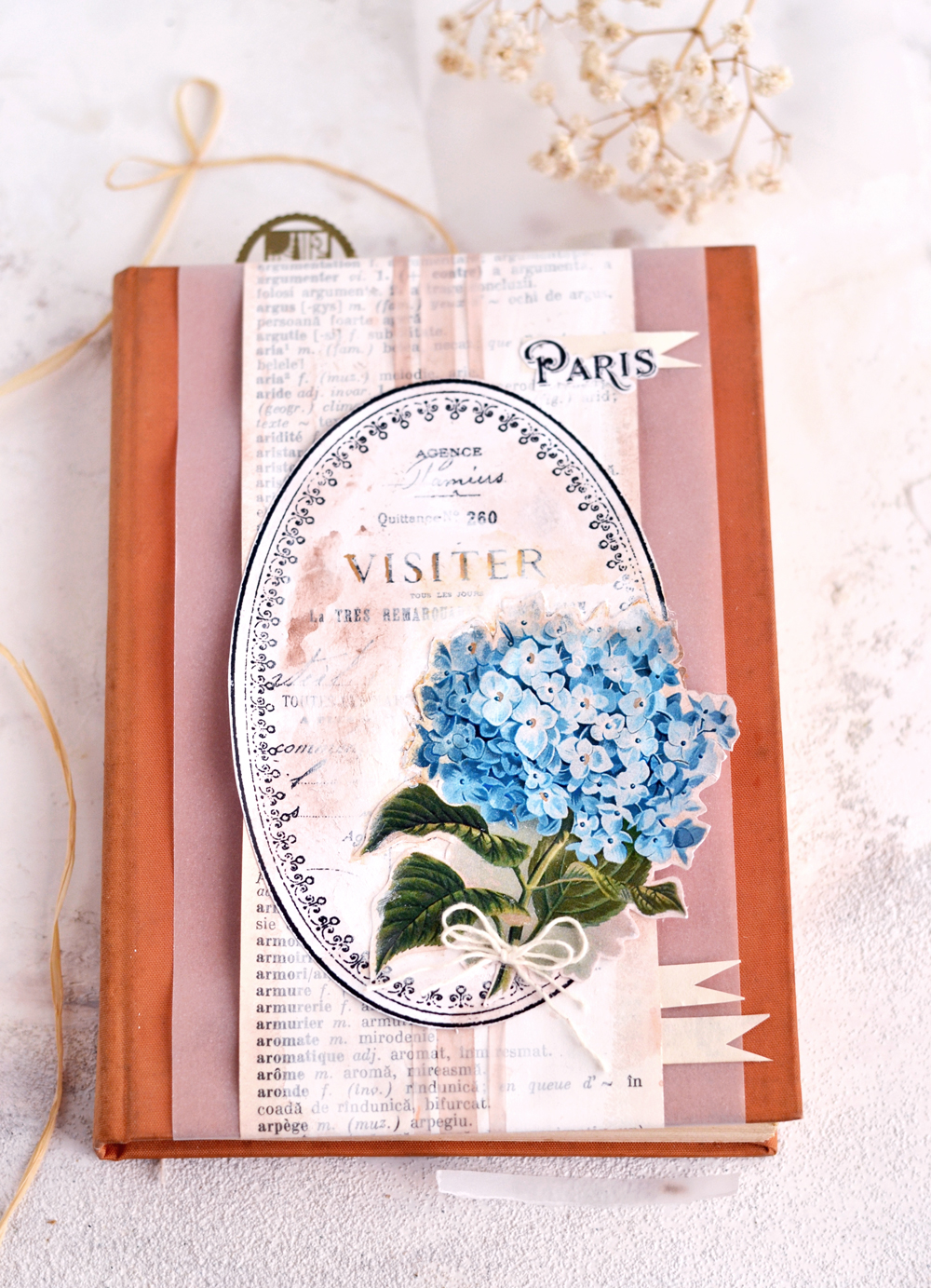 DIY Vintage French Art Journal Cover - learn how to easily make this DIY project using supplies that you might have around and an old dictionary! #DIY #vintage #freeprintable #hydrangea