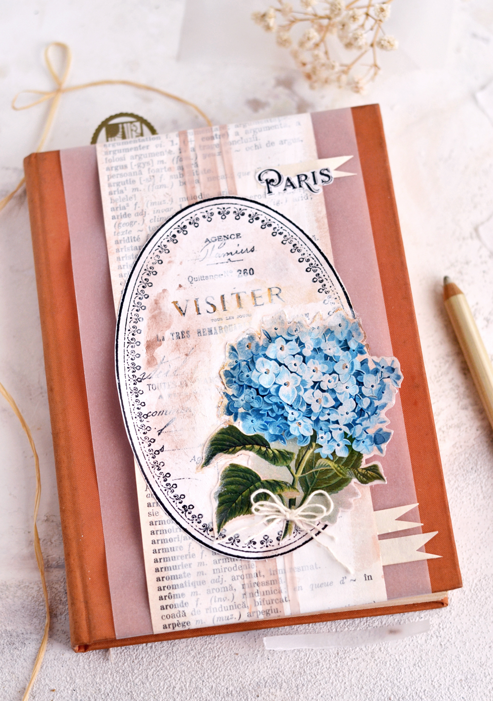 DIY Vintage French Art Journal Cover - learn how to easily make this DIY project using supplies that you might have around and an old dictionary! #DIY #vintage #freeprintable #hydrangea #artjournal #junkjournal