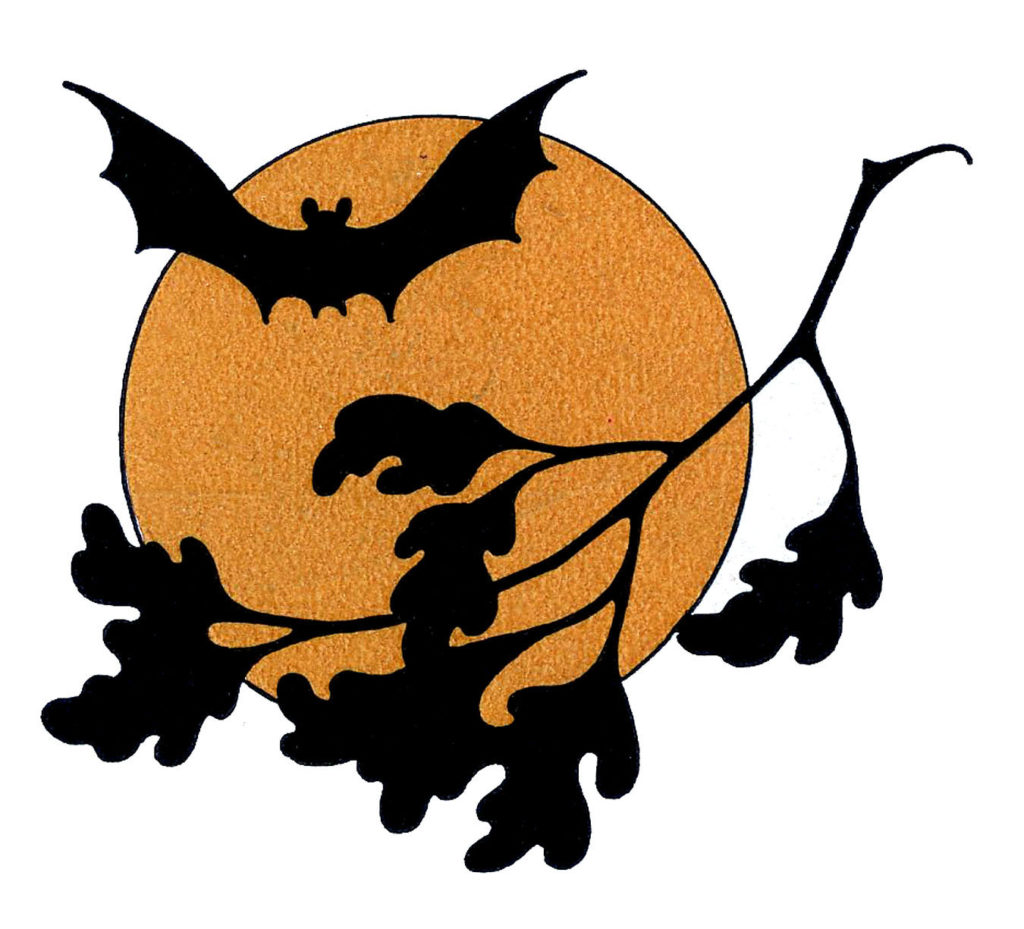 Halloween Bat Silhouette Image with Moon